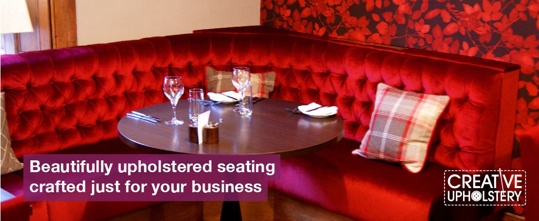 Red buttoned seating from Lets Eat in Perth