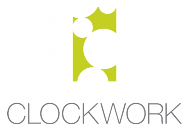 Creative Upholstery Clockwork logo with the text 'Clockwork' written underneath