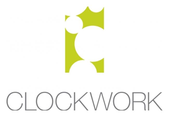 Creative Upholstery Clockwork logo with the text 'Clockwork' written underneath