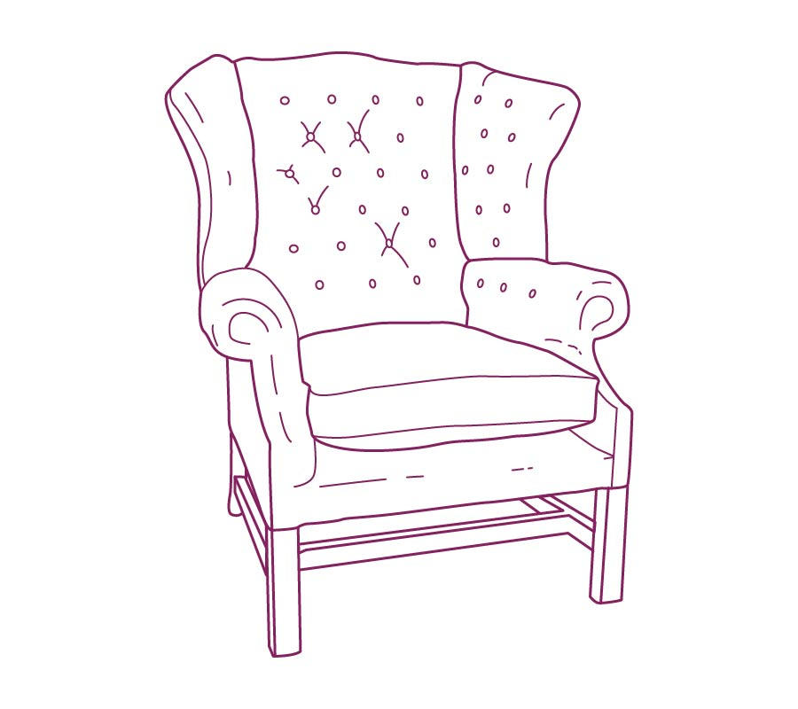 Upholstered Armchair Wing purple drawing