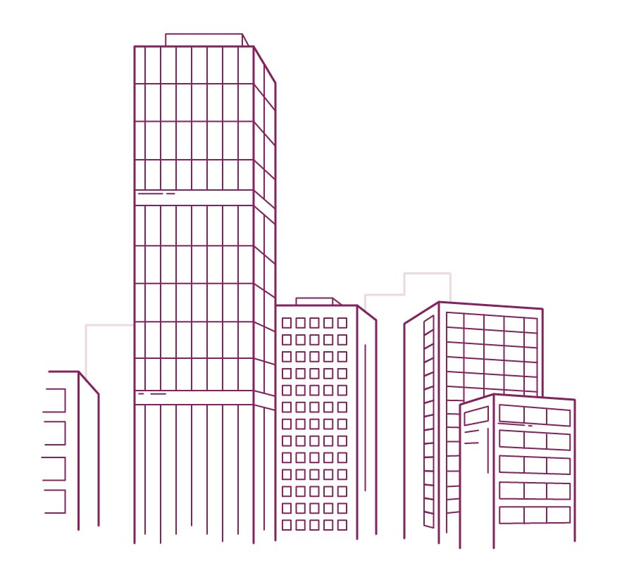 Commercial offices purple drawing
