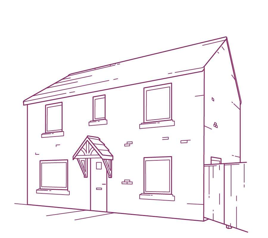 Domestic services purple house drawing