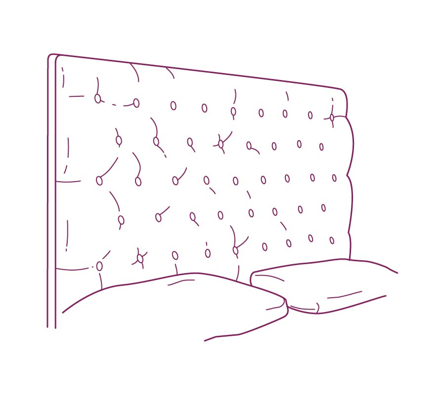 Upholstered headboard purple drawing
