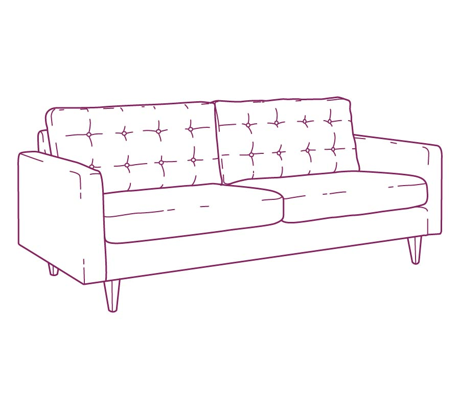 Upholstered sofa purple drawing